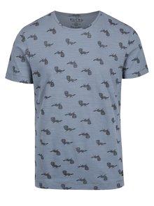 Modré vzorované slim fit tričko Blend