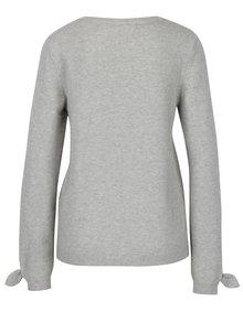 Svetlosivý melírovaný sveter s mašľami na rukávoch VERO MODA Davis