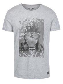 Tricou gri cu print de inspirație punk Blend