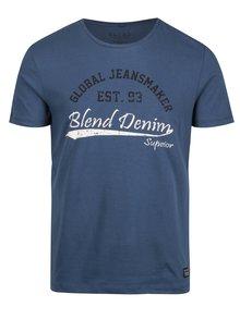 Modré pánské slim fit tričko s potiskem a kulatým výstřihem Blend
