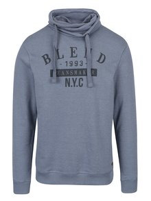 Modrá regular fit mikina s vysokým límcem Blend