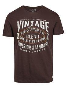 Hnědé pánské slim fit tričko s potiskem a krátkým rukávem Blend