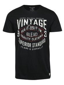 Černé pánské slim fit tričko s potiskem a krátkým rukávem Blend
