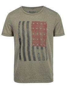 Tricou kaki slim fit cu print steag american Blend