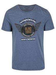 Tricou albastru slim fit cu inscripție Blend