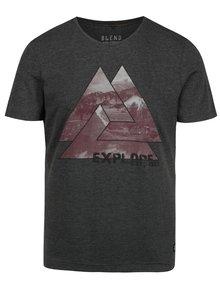 Tmavě šedé pánské žíhané slim fit tričko s potiskem Blend