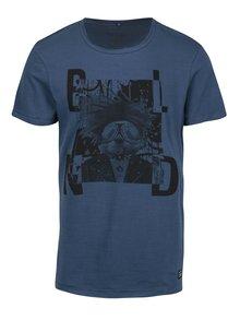 Modré slim fit tričko s punkovým potiskem Blend