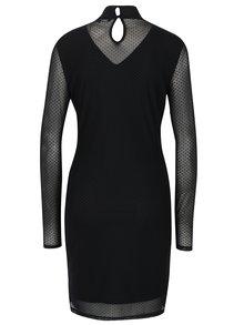 Čierne bodkované šaty s dlhým rukávom VERO MODA Kira