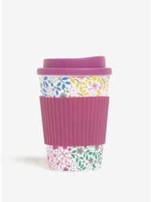 Krémovo–ružový kvetovaný cestovný hrnček Cath Kidston 330 ml