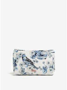 Modro–krémová kozmetická taštička s potlačou kvetov a vtákov Cath Kidston