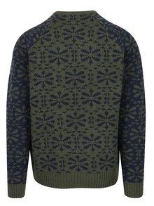 Modro-zelený vzorovaný slim fit sveter s prímesou vlny Blend