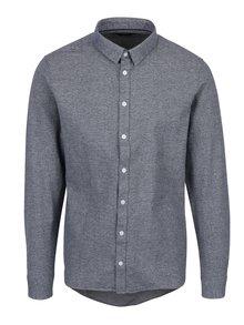 Tmavě modrá žíhaná slim fit košile Casual Friday by Blend