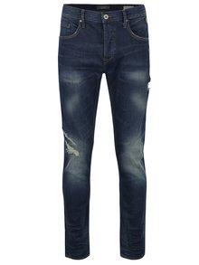 Tmavě modré slim džíny s potrhaným efektem Blend