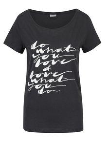 Tricou gri închis cu mesaj -  Jacqueline de Yong Chicago