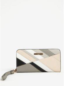 Sivo-krémová peňaženka s pútkom LYDC