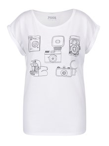 Tricou alb cu print camere foto pentru femei ZOOT Original Foťáky