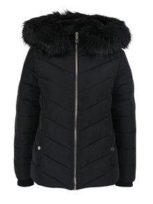 Čierna prešívaná bunda s umelým kožúškom Miss Selfridge