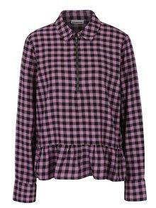 Čierno–ružová kockovaná košeľa s volánom Noisy May Erik