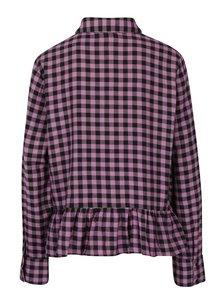 Černo-růžová kostkovaná košile s volánem Noisy May Erik