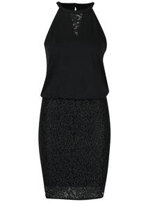 Čierne čipkované šaty s prešívaním v striebornej farbe ONLY Lene