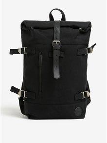 Čierny batoh s koženými detailmi Hiker Roll Top Backpack Enter 16 l