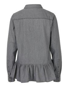 Sivá rifľová košeľa s volánom VERO MODA Vera