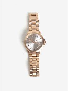 Pozlacené hodinky v růžovozlaté s kovovým páskem barvě Pilgrim