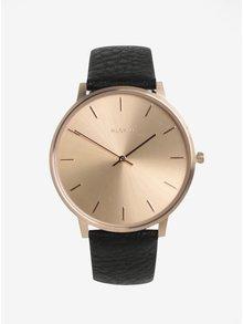 Pozlátené hodinky v ružovozlatej farbe s čiernym koženým remienkom Pilgrim