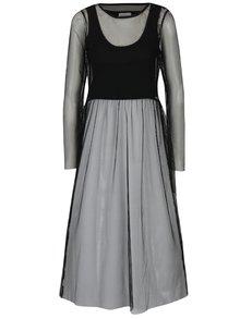 Černé průsvitné síťované šaty s odepínatelným topem Noisy May Bianca