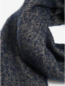 Béžovo-modrý melírovaný šál so strapcami VERO MODA Massy