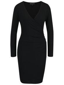 Černé pouzdrové šaty s překládaným dekoltem Mela London