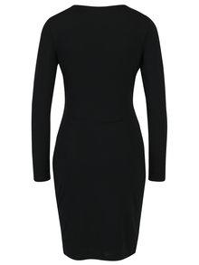 Čierne puzdrové šaty s prekladaným dekoltom Mela London