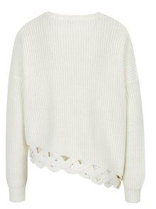 Krémový voľný sveter s ozdobným asymetrickým lemom Miss Selfridge