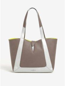 Svetlohnedá veľká kabelka s vnútrom v neónovožltej farbe Paul's Boutique Maxine