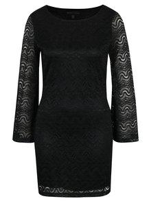 Černé pouzdrové krajkové šaty se zvonovými rukávy Mela London
