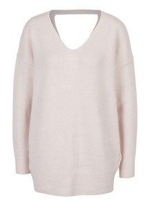 Světle růžový svetr s véčkovým výstřihem Miss Selfridge