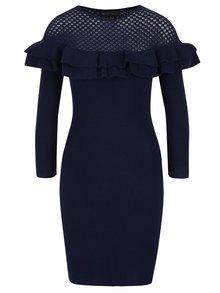 Tmavě modré svetrové šaty s volány Mela London