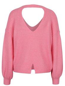 Ružový sveter s véčkovým výstrihom Miss Selfridge