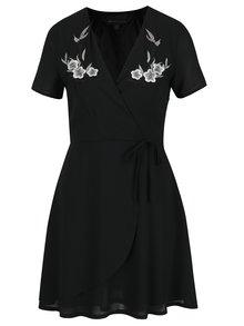 Rochie neagră cu broderii Mela London