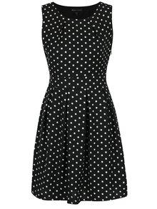 Černé puntíkované šaty bez rukávů Mela London