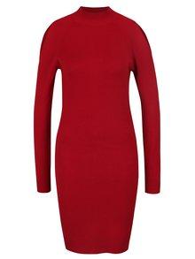 Červené svetrové šaty s průstřihy na zádech a ramenou Miss Selfridge