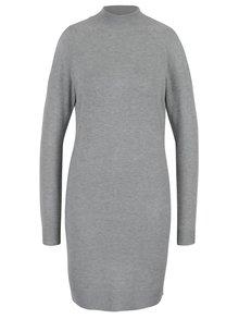 Světle šedé žíhané svetrové šaty s průstřihy na ramenou a zádech Miss Selfridge