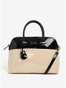 Černo-béžová lesklá kabelka do ruky Paul's Boutique Maisy