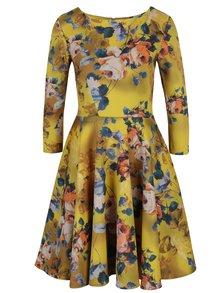 Rochie galbenă cu model floral și mâneci 3/4 Closet