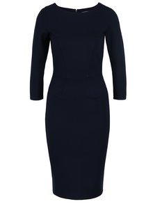Tmavě modré pouzdrové šaty s 3/4 rukávem Closet