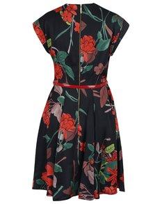 Rochie neagră cu model floral și decolteu suprapus Closet
