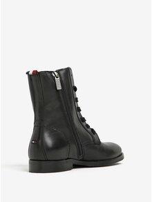 Čierne dámske kožené členkové topánky Tommy Hilfiger Genny