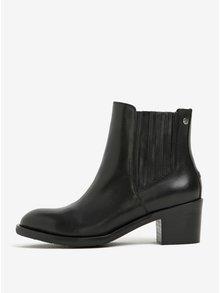 Černé dámské kožené chelsea boty na podpatku Tommy Hilfiger Parson