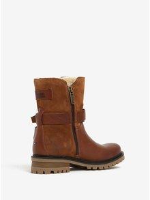 Hnedé dámske kožené členkové topánky s umelým kožúškom Tommy Hilfiger Corey