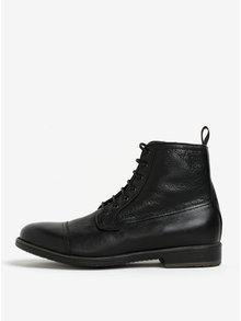 Čierne pánske zateplené kožené topánky Geox Jaylon